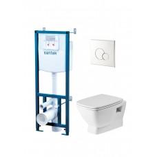 Сет Нео  подвесная чаша rimless + инсталляция + сиденье + панель хром (арт.1WH501572)